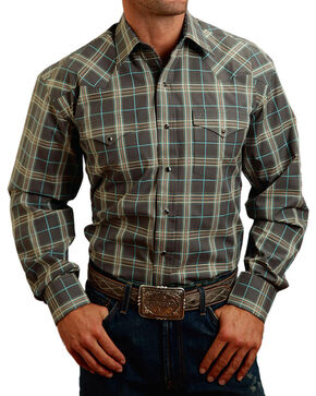 Stetson Men's Grey Plaid Long Sleeve Snap Shirt, Grey, hi-res