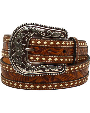 Blazin Roxx Women's Tooled Buck Stitching Rope Belt , Brown, hi-res