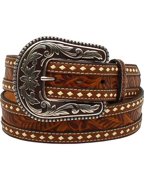 Blazin Roxx Women's Tooled Buck Stitching Rope Belt , Brown, hi-res
