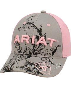 Ariat Women's Grey and Pink Scroll Ballcap, Grey, hi-res