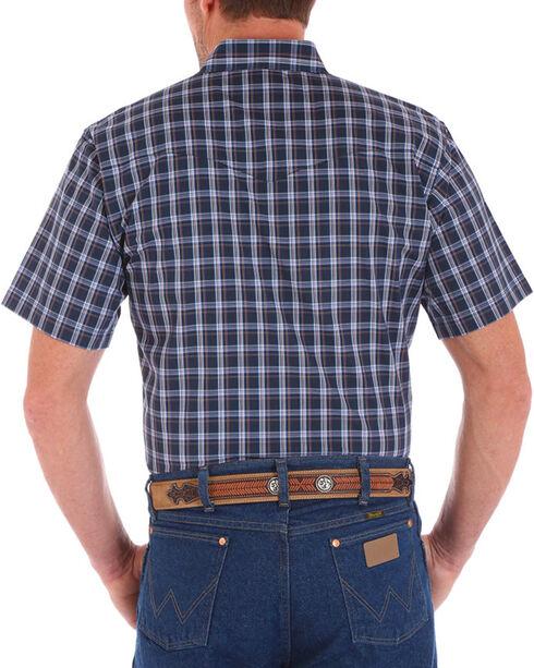 Wrangler Men's Navy Wrinkle Resist Short Sleeve Shirt , Navy, hi-res