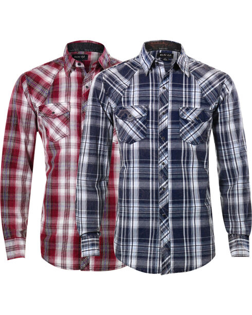 Ely Walker Men's Assorted Plaid Western Shirt, Burgundy/navy, hi-res