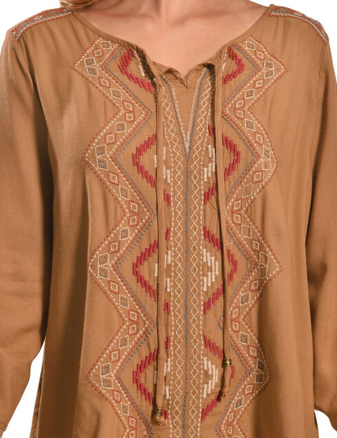 Tantrums Women's Camel Embroidered Lace Hi-Lo Shirt , Camel, hi-res