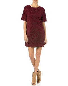 Miss Me Red Wine Crewneck Dress, Wine, hi-res