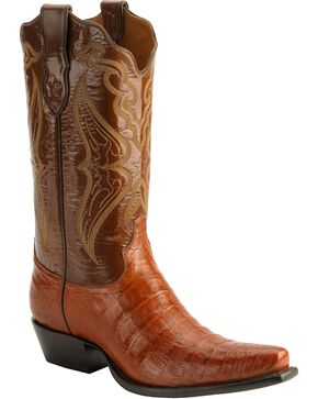 Tony Lama Signature Series Embroidered Caiman Belly Cowboy Boots - Snip Toe, Cognac, hi-res