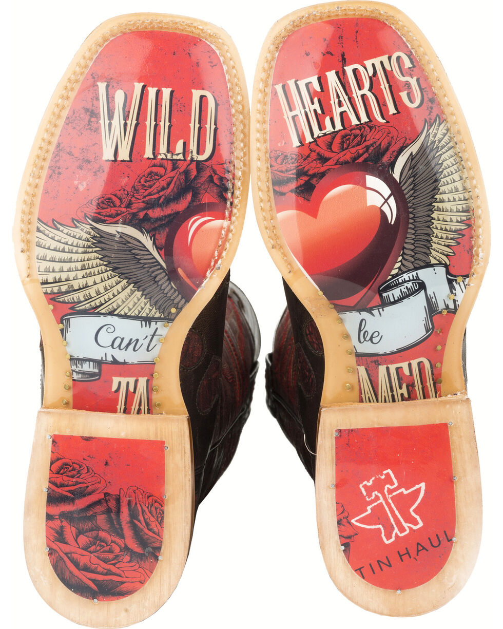 Tin Haul Wild Hearts Cowgirl Boots - Square Toe , Brown, hi-res