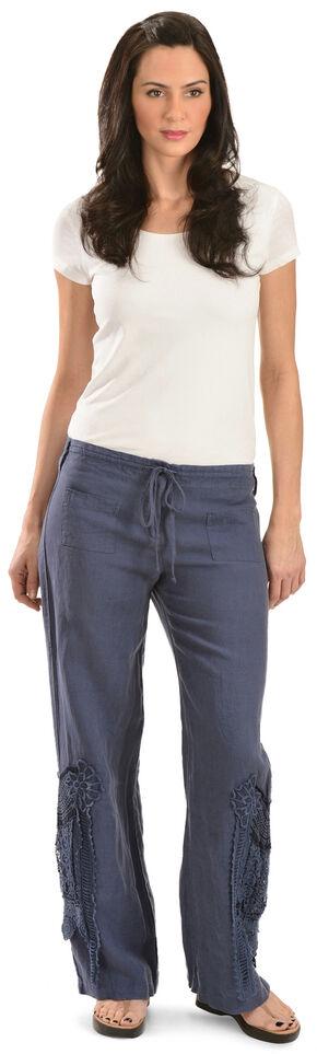 Johnny Was Women's Blue Linen Crochet Pants, Blue, hi-res