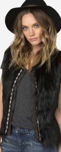 Miss Me Women's Faux Fur Sweater Vest, Black, hi-res