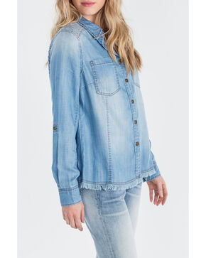 Miss Me Women's Indigo Denim Long Sleeve Shirt, Indigo, hi-res