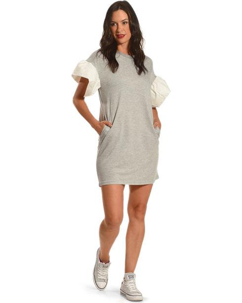 Polagram Women's Grey Sweatshirt Flare Sleeves Dress , Grey, hi-res