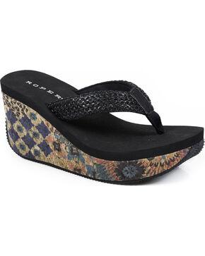 Roper Women's Black Cork Wedge Sandals, Black, hi-res