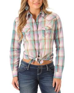 Wrangler Women's Green Blanket Stitch Plaid Long Sleeve Shirt , Light Green, hi-res