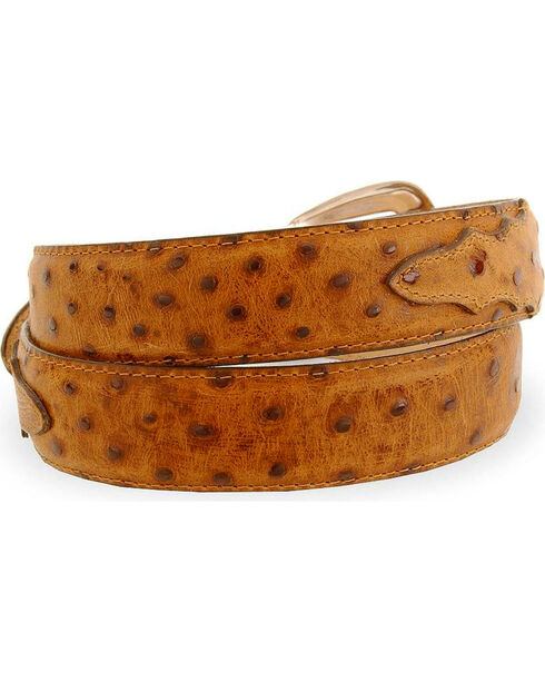Tony Lama Ostrich Print Leather Belt - Reg & Big, Coffee, hi-res