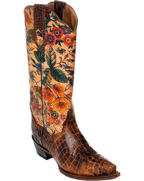 Ferrini Vintage Gator Belly Print Cowgirl Boots - Snip Toe, Brown, hi-res
