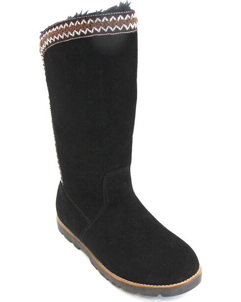 Lamo Women's Madelyn Suede Winter Boots - Round Toe, Black, hi-res