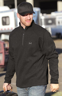 Cinch Men's Solid Black 1/4 Zip Fleece Pullover, Black, hi-res