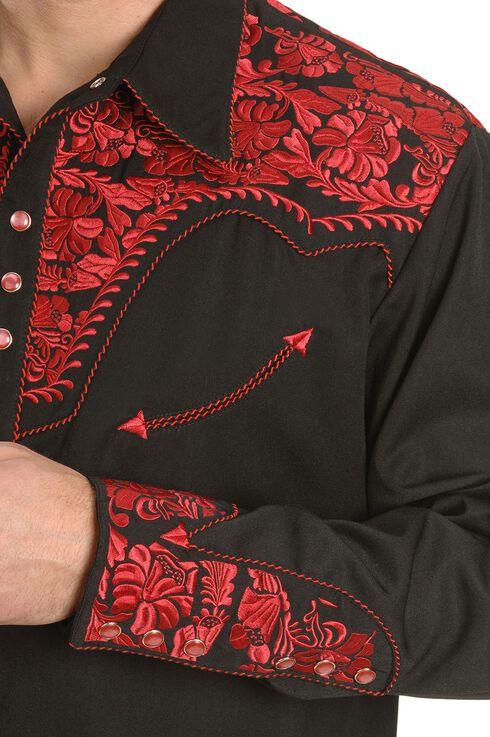 Scully Crimson Floral Embroidery Retro Western Shirt, Crimson, hi-res