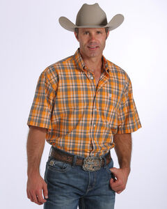 Cinch Men's Plaid Short Sleeve Shirt, Gold, hi-res