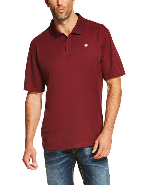 Ariat Men's Maroon TEK Performance Short Sleeve Polo , Wine, hi-res