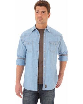 Wrangler Men's Light Indigo Retro Long Sleeve Denim Shirt - Tall  , Indigo, hi-res
