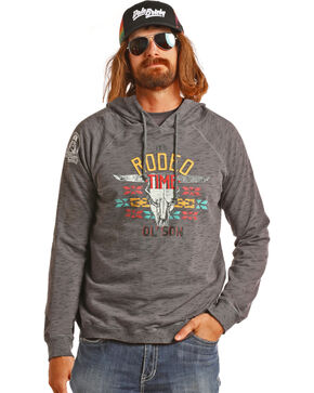 Dale Brisby Men's Charcoal Burnout Rodeo Time Hooded Sweatshirt, Charcoal, hi-res