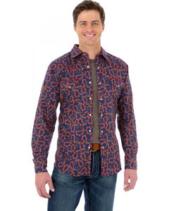 Wrangler 20X Navy Blue and Red Paisley Western Shirt, , hi-res