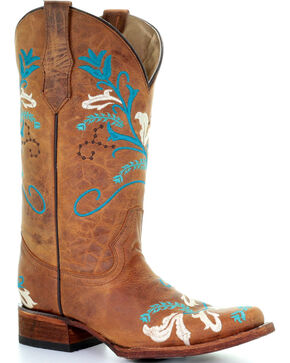 Circle G by Corral Turquoise Embroidered Cowgirl Boots - Square Toe, Tan, hi-res