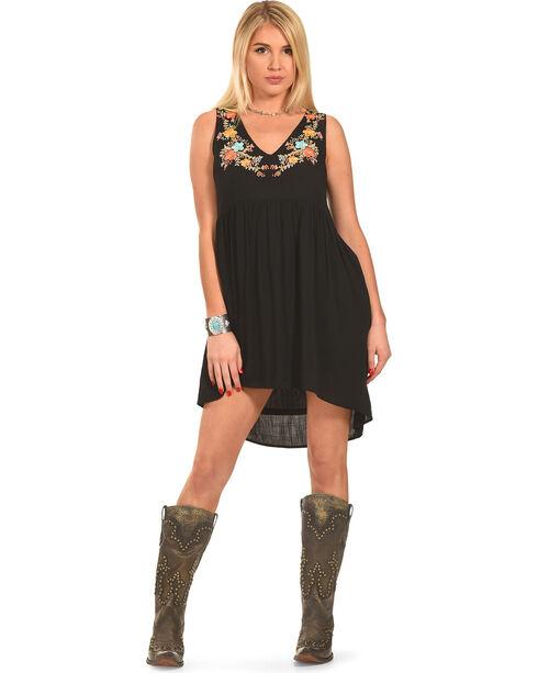 Polagram Women's Sleeveless High-Low Embroidered Mini Dress, Black, hi-res