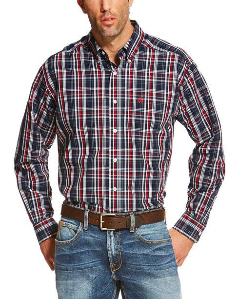 Ariat Men's Navy Vega Wrinkle Free Western Shirt , Navy, hi-res
