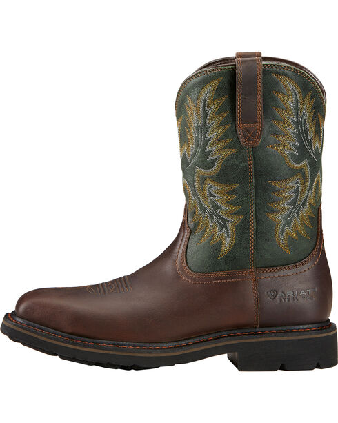 Ariat Sierra Wide Square Toe Western Work Boots - Steel Toe, Dark Brown, hi-res