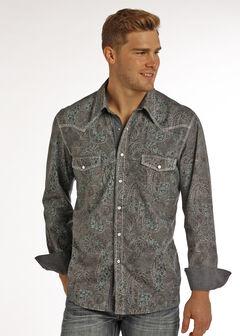 Rock & Roll Cowboy Men's Multi Paisley Print Long Sleeve Shirt , Multi, hi-res