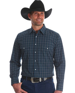 Wrangler Men's Navy Wrinkle Resistant Western Shirt - Big & Tall, Navy, hi-res