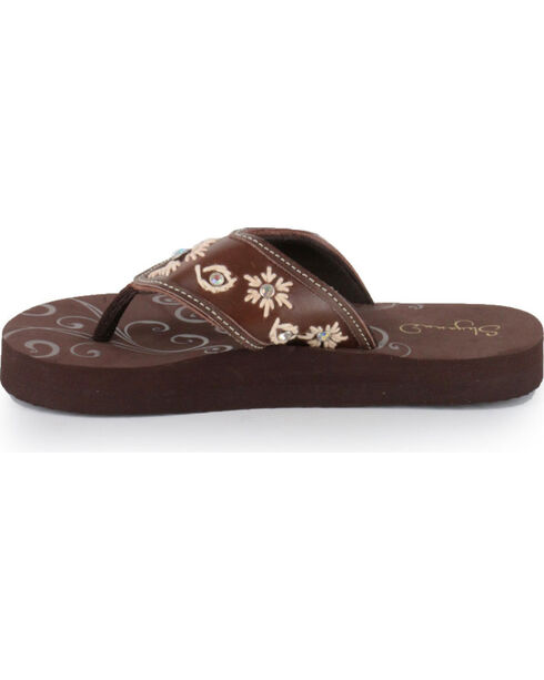 Shyanne® Women's Floral Embroidered Sandals, Brown, hi-res