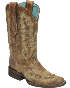 Corral Women's Metallic Cognac Stitching & Studs Cowgirl Boots - Square Toe, , hi-res