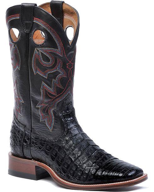 Boulet Black Caiman Belly Cowboy Boots - Square Toe, , hi-res