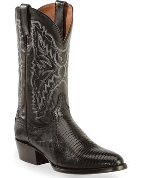 Dan Post Raleigh Lizard Western Boots - Medium Toe, Black, hi-res