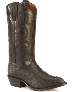Tony Lama Full Quill Ostrich Western Boots - Pointed Toe, Black, hi-res