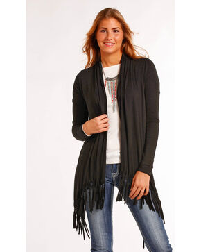 Panhandle Women's Black Fringe Hem Knit Cardigan , Black, hi-res