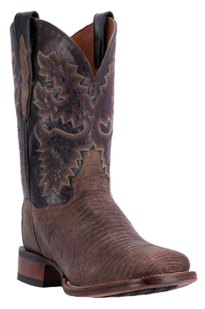 Dan Post Hurst Lizard Cowboy Boots - Square Toe, Chocolate, hi-res