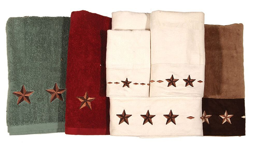 HiEnd Accents Three-Piece Embroidered Star Bath Towel Set - Cream, Natural, hi-res