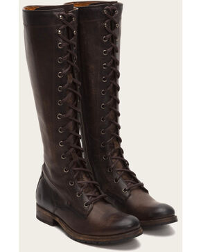 Frye Women's Slate Melissa Tall Lace Boots - Round Toe , Grey, hi-res