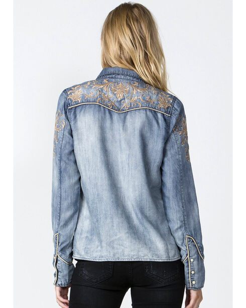 Miss Me Chambray Embroidered Yoke Western Shirt, Blue, hi-res