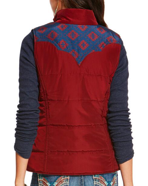 Ariat Women's Aztec Print County Puffer Vest, Burgundy, hi-res