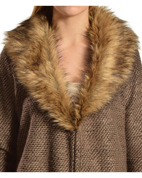 Black Swan Zoey Faux Fur Collar Cardigan, Dusty Brn, hi-res