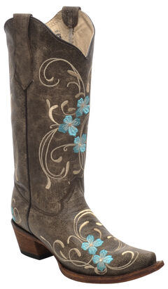 Circle G Brown Cowhide Floral Cowgirl Boots - Snip Toe , , hi-res