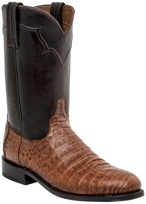 Lucchese Dustin Belly Caiman Roper Boots - Round Toe , Sienna, hi-res