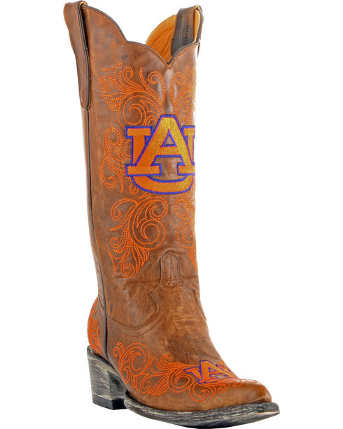 Gameday Auburn University Cowgirl Boots - Pointed Toe, Brass, hi-res