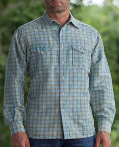 Ryan Michael Men's Aqua Vintage Dobby Plaid Shirt, , hi-res