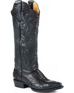 Stetson Women's Bailey Black Basketweave Western Boots - Snip Toe, Black, hi-res