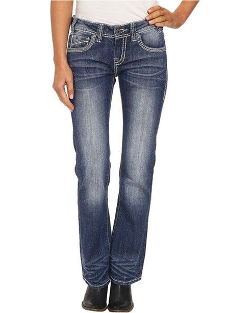 Rock & Roll Cowgirl Women's Indigo Low Rise Jeans - Boot Cut , Indigo, hi-res